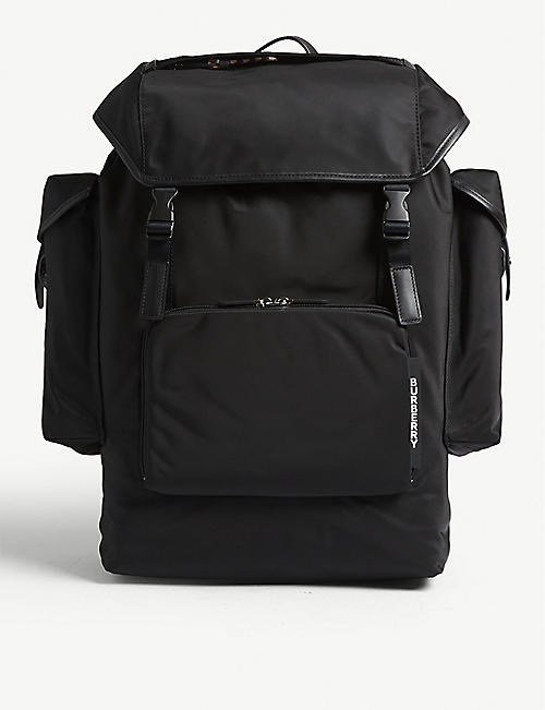 b2b5d6981b8d BURBERRY Logo nylon and leather backpack