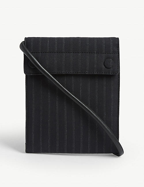 DRIES VAN NOTEN Pinstripe cotton-blend crossbody bag