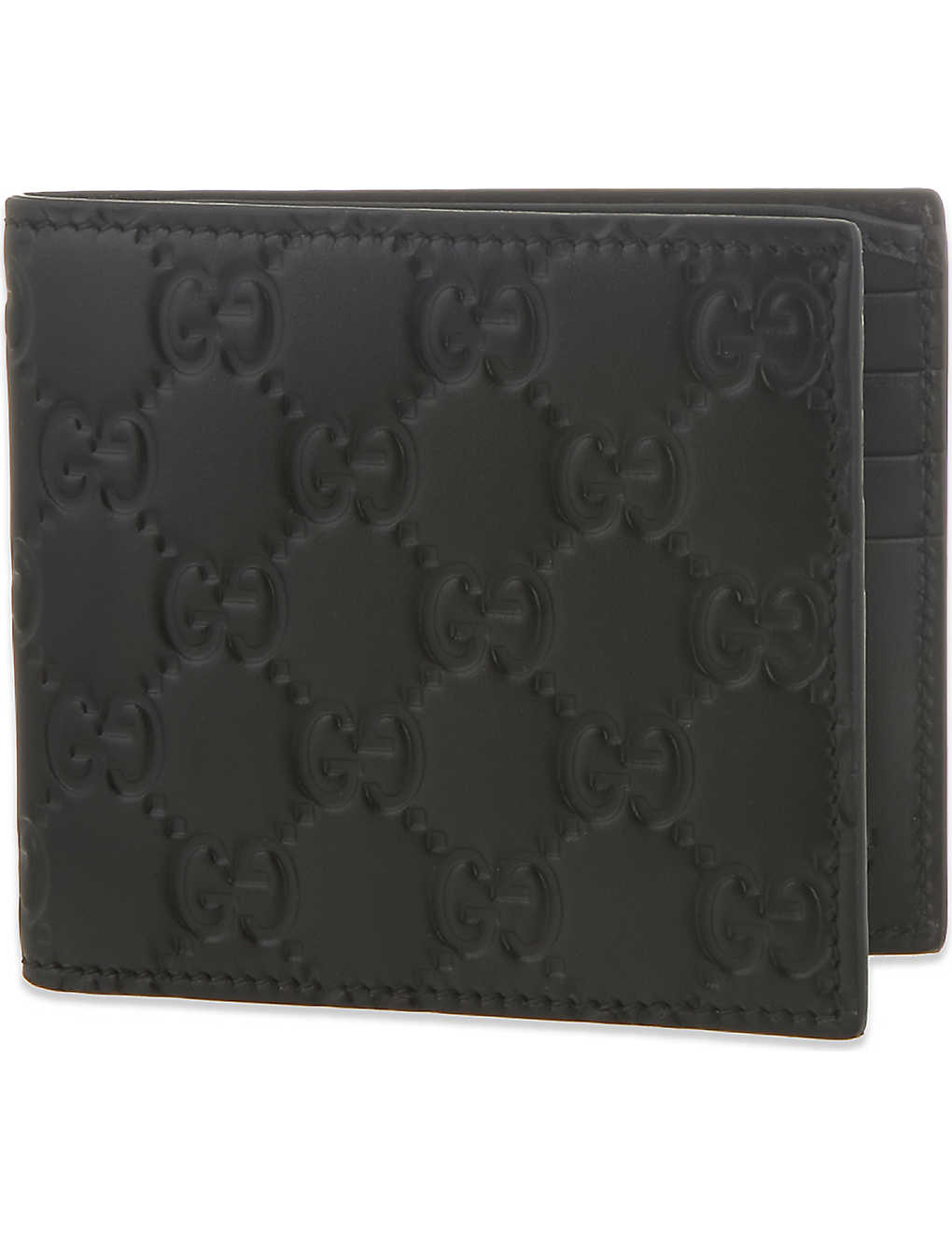 b0c28b233321 GUCCI - GG logo leather billfold wallet | Selfridges.com