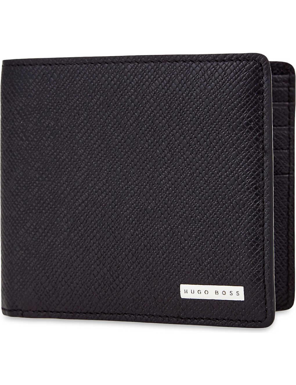 8163afba23 BOSS - Signature grained leather billfold wallet | Selfridges.com