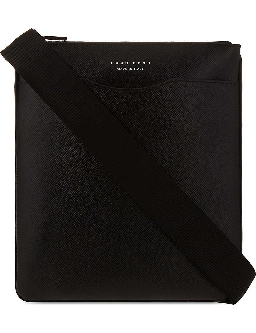 4c1a8ef4eb BOSS - Signature leather messenger bag | Selfridges.com