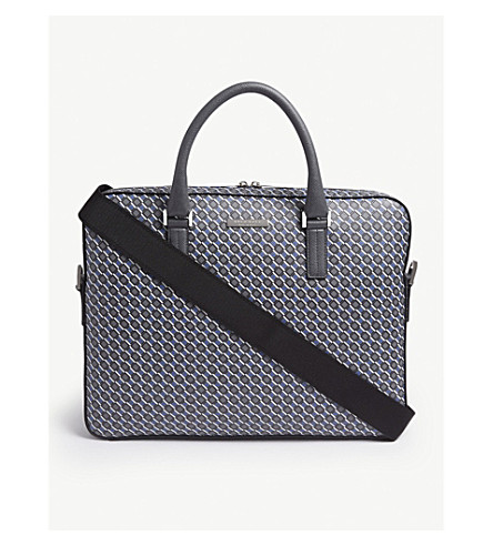 BOSS - Signature printed leather briefcase  81bbcd854a159