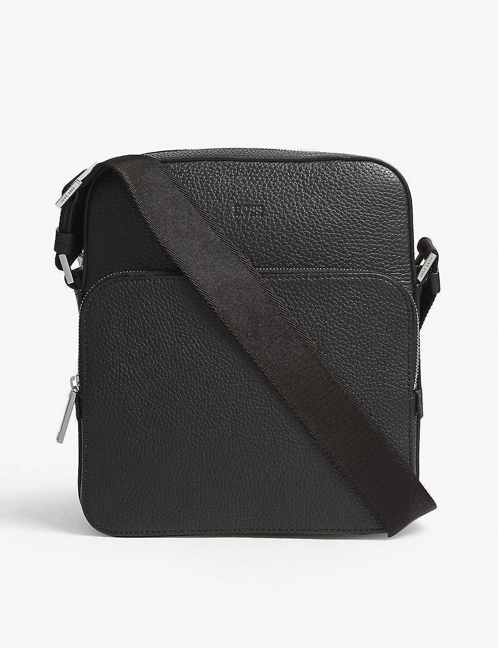3402886d4838 BOSS - Crosstown grained leather reporter messenger bag | Selfridges ...
