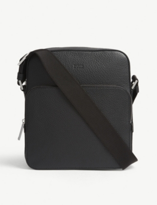 BOSS Crosstown grained leather reporter messenger bag