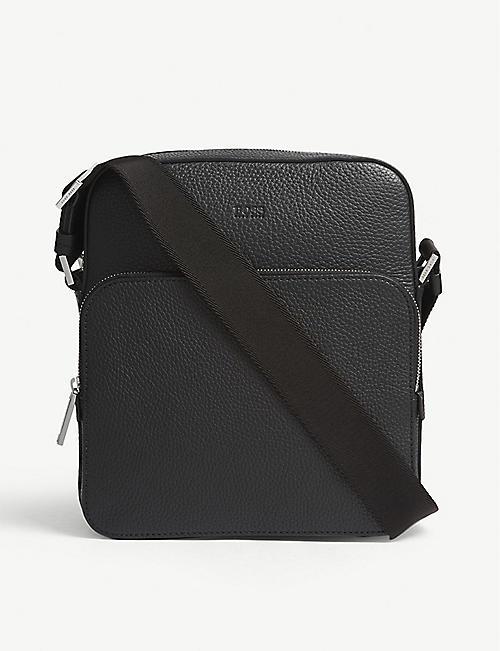 8dd983295cdd BOSS Crosstown grained leather reporter messenger bag