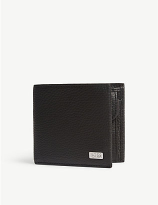 BOSS: Pebbled leather billfold wallet