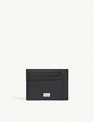 BOSS: Crosstown grained leather card holder