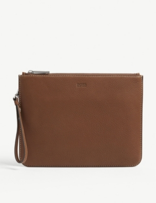 BOSS Crosstown grained leather pouch