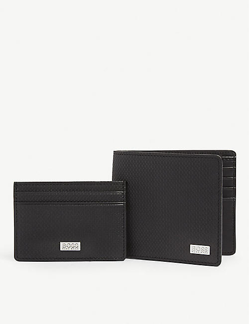c2abc84de65e BOSS Textured leather wallet   cardholder gift set