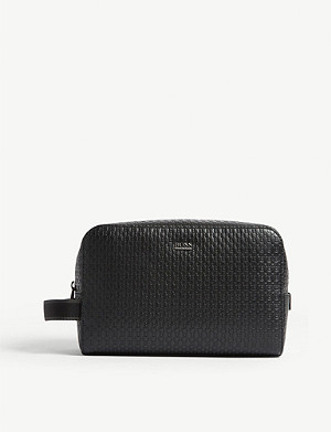 BOSS Crosstown textured leather washbag