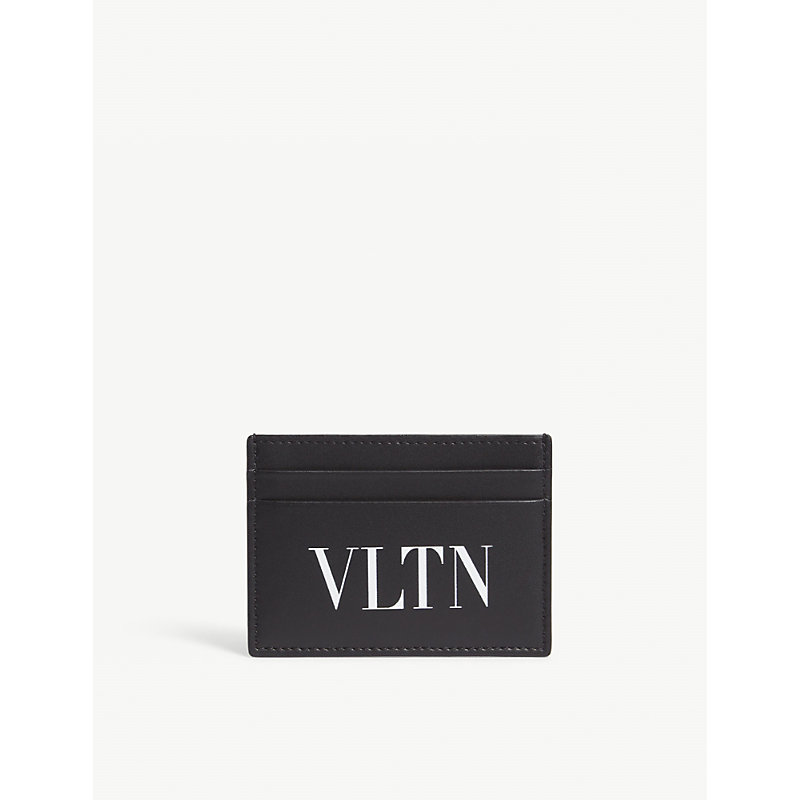 Small Logo Leather Credit Card Holder in Black