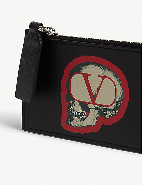 VALENTINO Valentino x Undercover skull logo leather card wallet