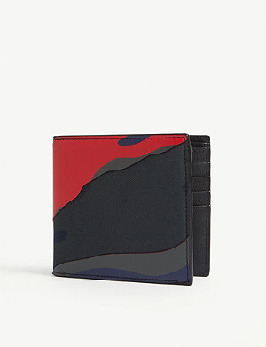 VALENTINO Camouflage cotton and leather wallet