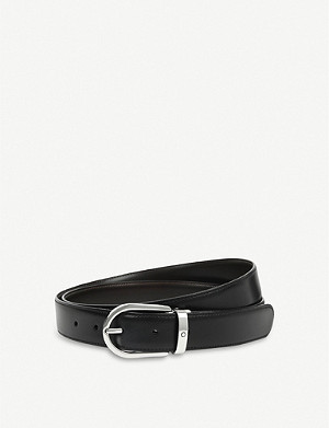 MONTBLANC Reversible horseshoe-buckle leather belt