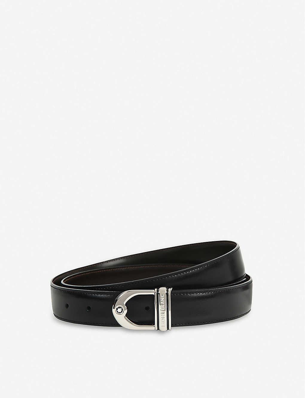 5bd6e3fc7fe Reversible logo-detailed leather belt - Black brown ...