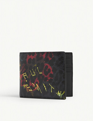 PAUL SMITH ACCESSORIES Leopard and floral print leather wallet