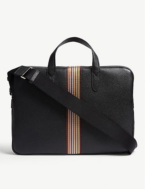 PAUL SMITH ACCESSORIES Multi-stripe grained leather briefcase