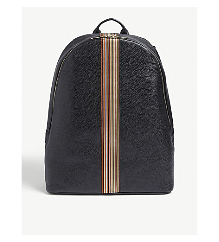 dc22c9fc2b ... PAUL SMITH Signature stripe leather backpack (Black. PreviousNext