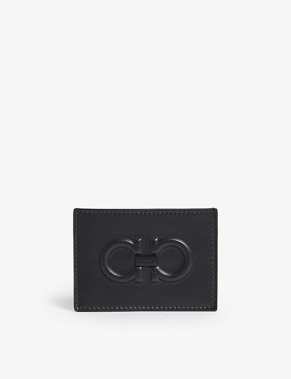 quality design 4e793 bf597 SALVATORE FERRAGAMO - Embossed Gancio leather card holder ...