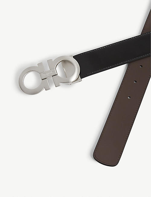 SALVATORE FERRAGAMO Reversible leather logo belt