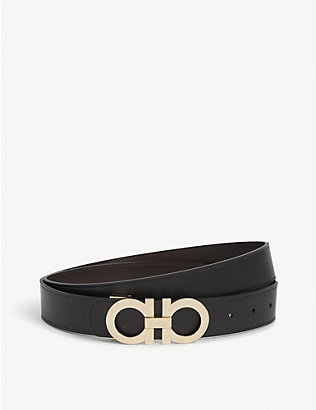 SALVATORE FERRAGAMO: Logo-buckle reversible leather belt