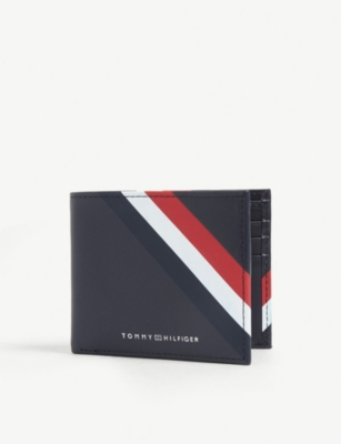 TOMMY HILFIGER Logo stripe leather wallet