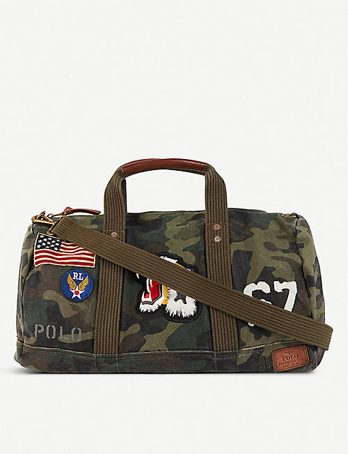 dc2be92c2 POLO RALPH LAUREN Patch-detailed camouflage-print canvas duffle bag