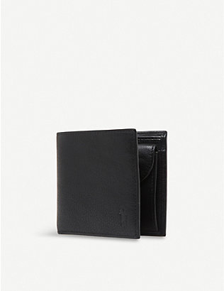 POLO RALPH LAUREN: Pony-embossed pebbled leather coin wallet