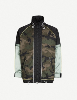 VALENTINO Camouflage-print cotton and satin jacket
