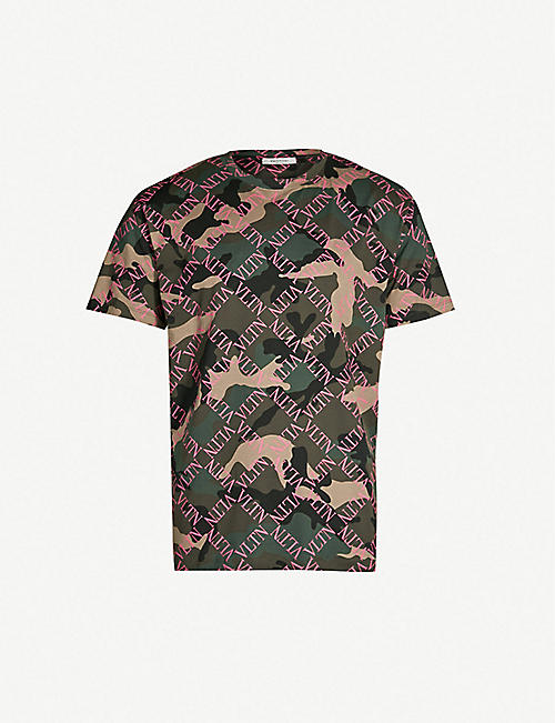 26afb2903 VALENTINO Logo-covered camouflage-print cotton-jersey T-shirt