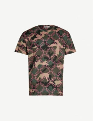 VALENTINO Logo-covered camouflage-print cotton-jersey T-shirt