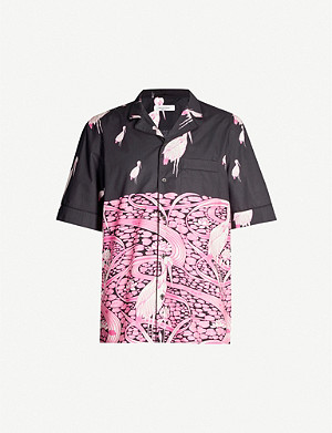 VALENTINO Pop flamingo-print oversized-fit cotton shirt
