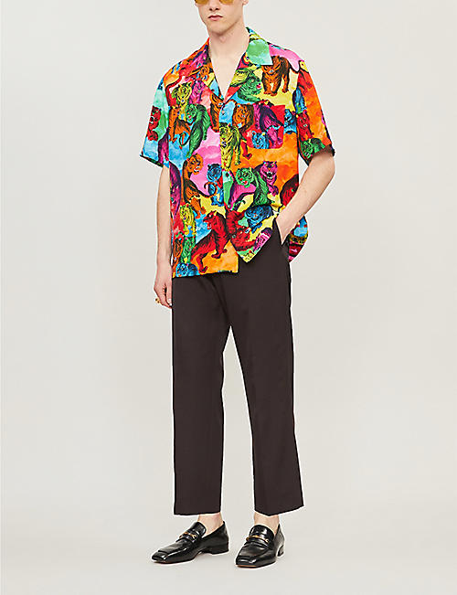 VALENTINO Graphic-print regular-fit crepe shirt