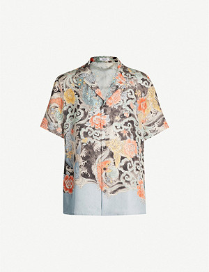 VALENTINO Graphic-print regular-fit silk shirt