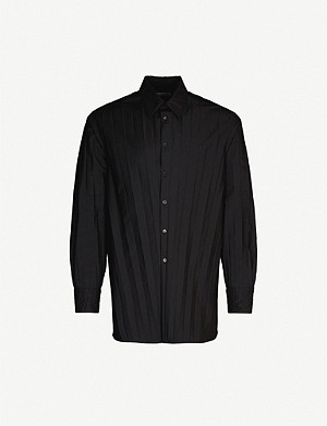 VALENTINO Pleated cotton-blend shirt