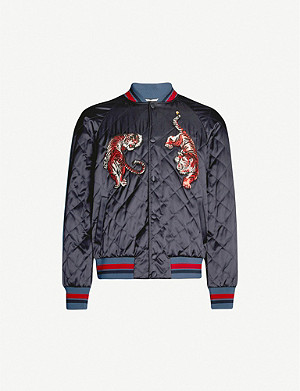 VALENTINO Tiger-embroidered jersey bomber jacket