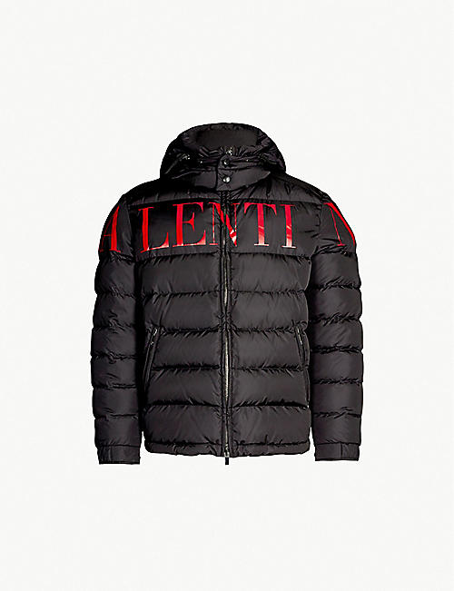 VALENTINO Logo-print shell and down-blend jacket