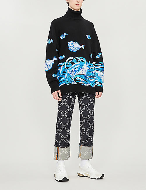 VALENTINO Fish-embroidered wool and cashmere-blend jumper
