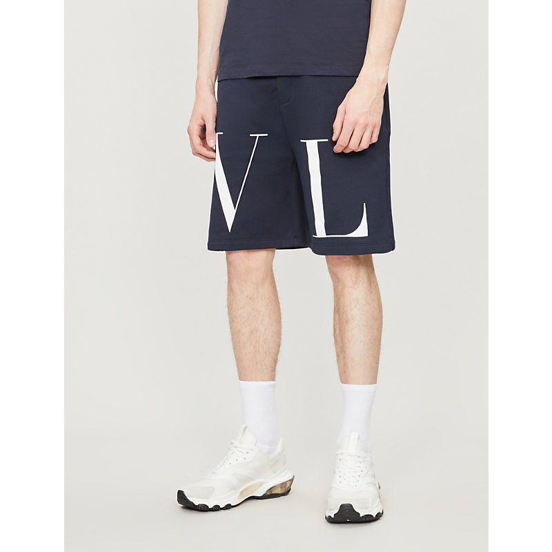 VALENTINO | Logo-Print Cotton-Blend Shorts | Goxip