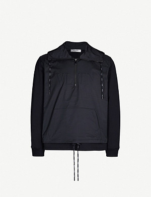 VALENTINO Logo-embossed cotton and shell hoody