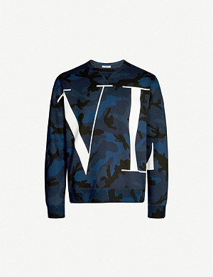 VALENTINO Graphic logo-print camouflage cotton-blend sweatshirt