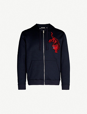 VALENTINO Tiger-embroidered cotton-jersey hoody