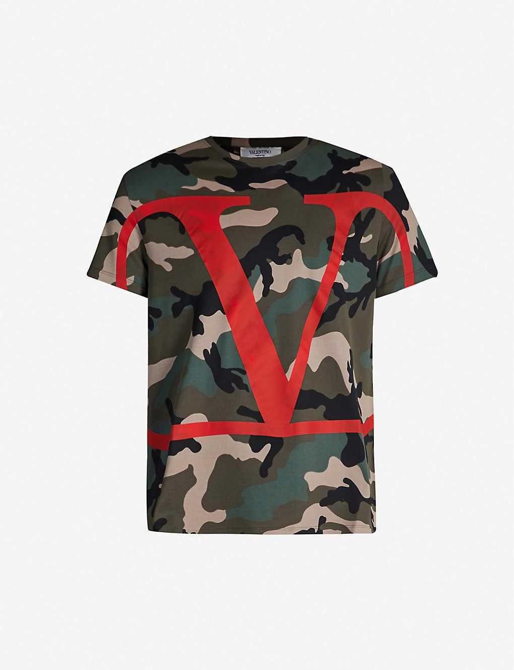 ee1ceb9aabcf VALENTINO - Logo-print camouflage cotton T-shirt | Selfridges.com