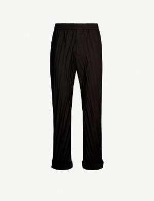 VALENTINO Pleated relaxed-fit straight stretch-wool crepe trousers