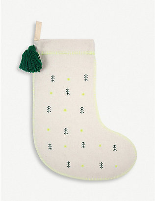 MERI MERI: Tree-embroidered felt stocking