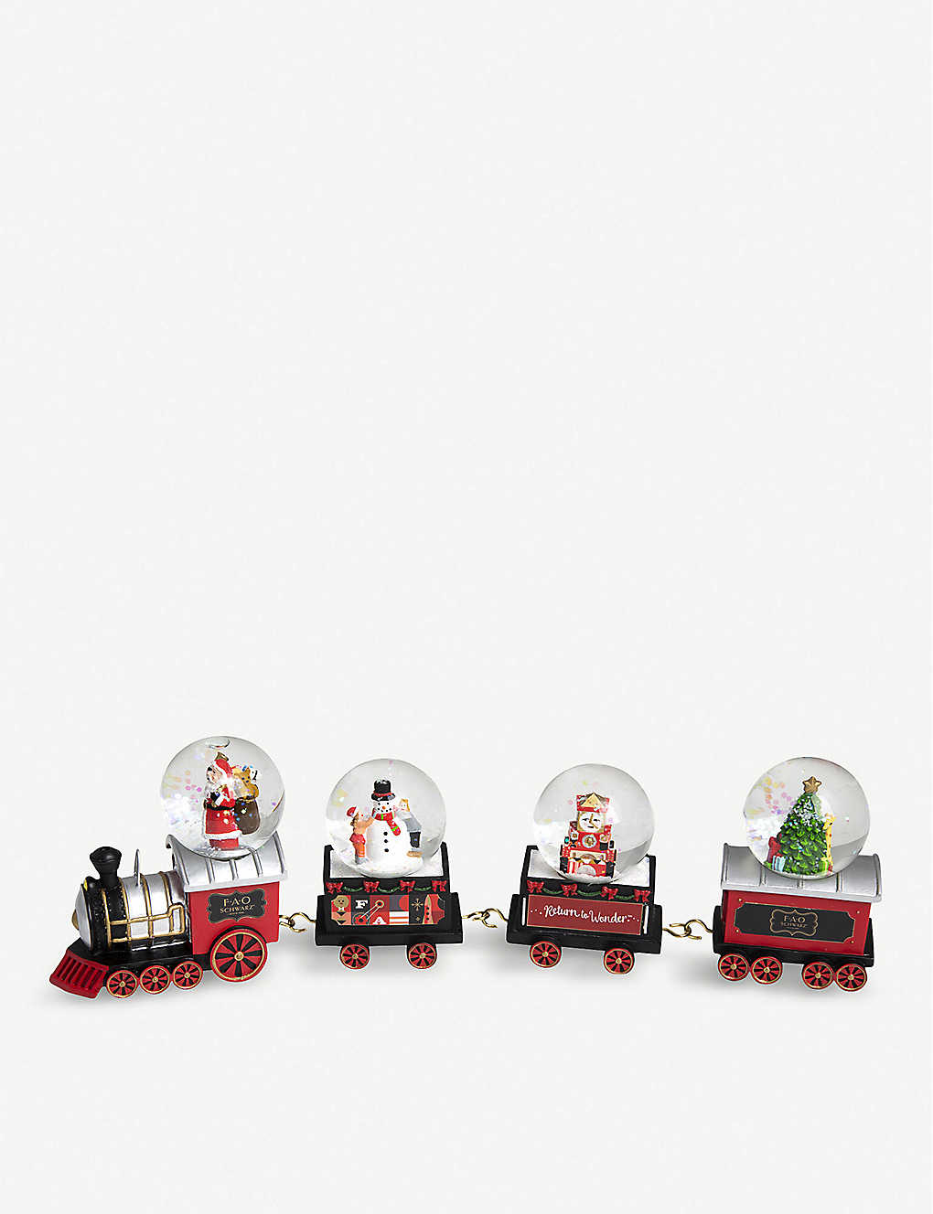 FAO CHRISTMAS: Christmas locomotive snow globe set of four