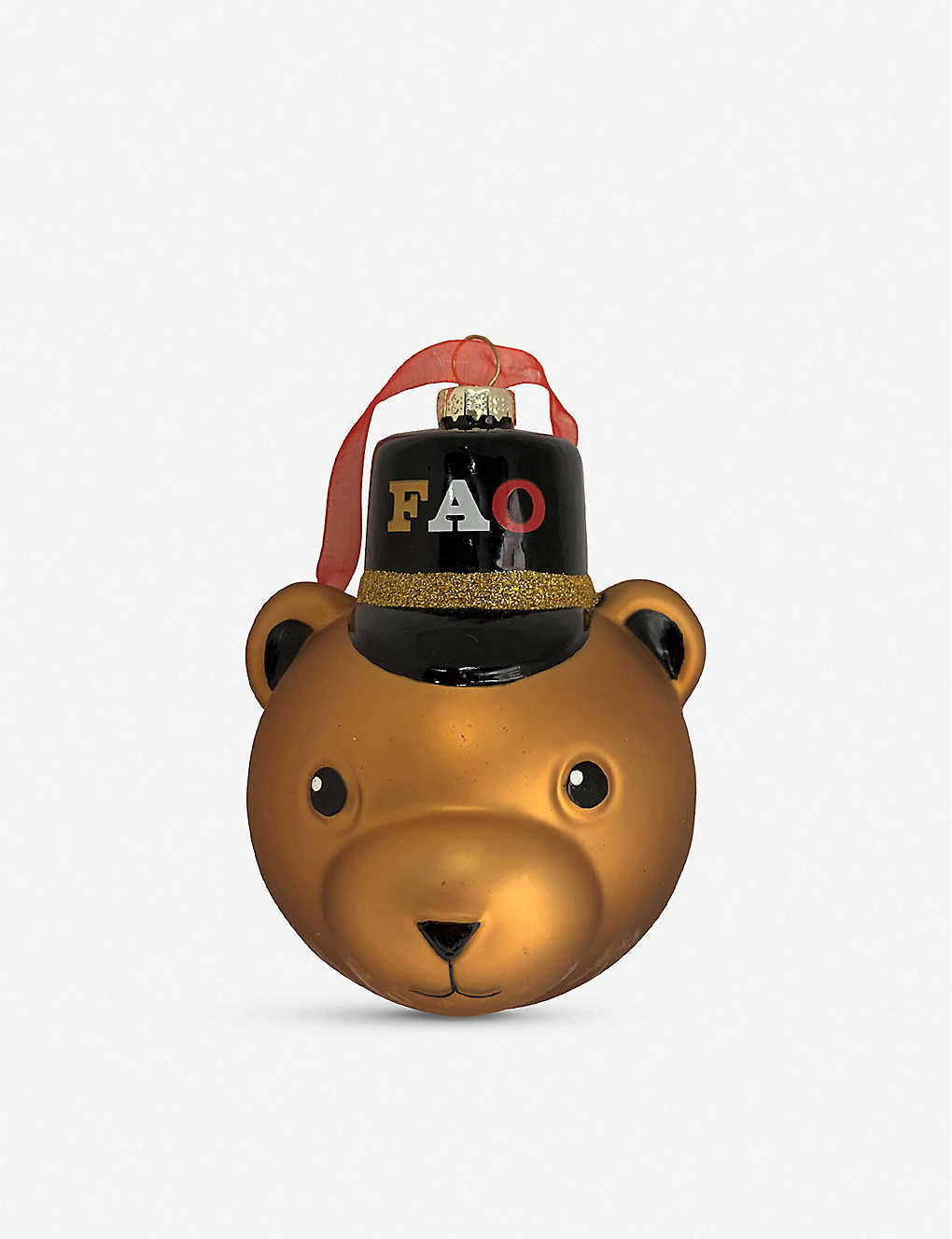 FAO CHRISTMAS: Soldier bear glass decoration