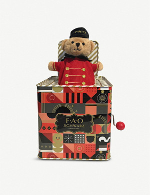 FAO SCHWARZ Teddy Bear jack-in-the-box 12.7cm