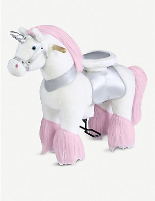 FAO PLUSH: Ride-on unicorn soft toy 63.5cm x 27.9cm