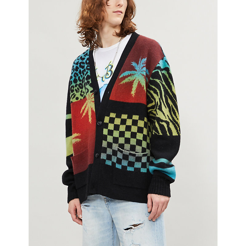 Amiri Tops OMBRE PATCHWORK CASHMERE AND WOOL-BLEND CARDIGAN